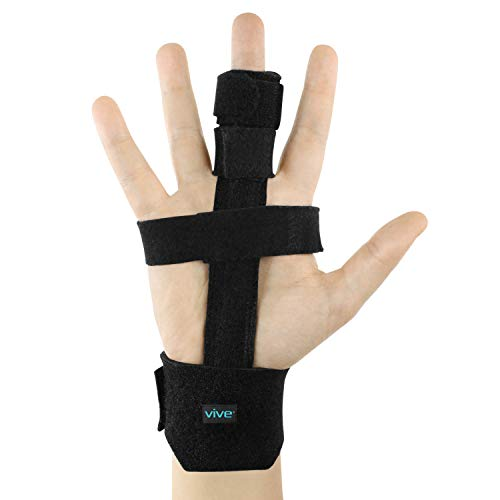 Vive Trigger Finger Splint - Full Hand and Wrist Brace Support - Adjustable Locking Straightener - Straightening Immobilizer Treatment for Sprains