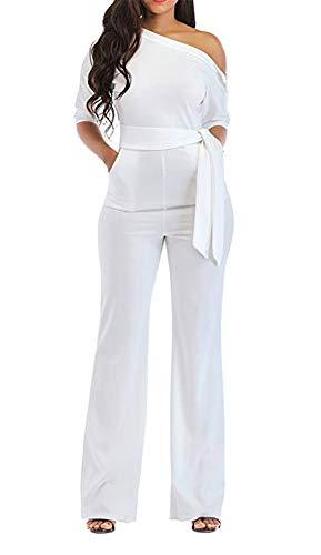 Grace Elbe Women's Wide Leg Slanted One Shoulder Belted Jumpsuits White Large