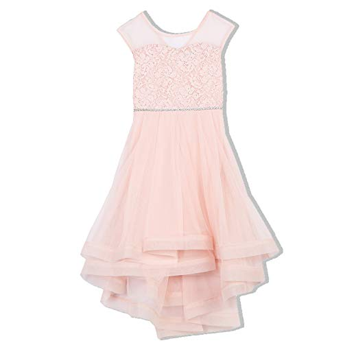 Speechless Girls' Big Cap Sleeve Ribbon Hem Sparkle Party Dress, Blush Pink, 16 -