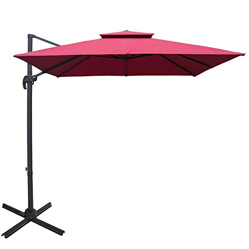 Sundale Outdoor 10ft Square Offset Hanging Umbrella Market Patio Umbrella Aluminum Cantilever Pole w Stylish Dual Wind Vent, Cover, Crank Lift and Corss Frame, 360 Rotation, for Garden,Backyard, Red