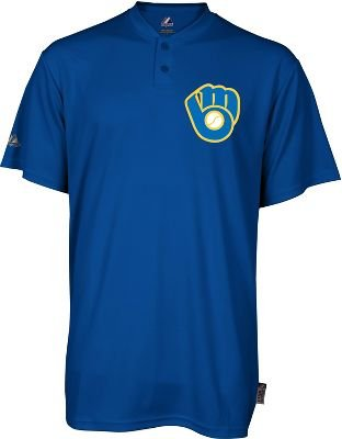 Majestic Two Button Milwaukee Brewers Cool Base Throwback Large Youth Jersey