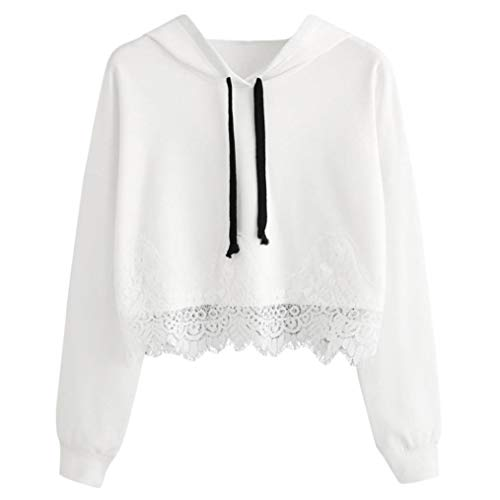 Price comparison product image Sweatshirt,Toimoth Women Lace Long Sleeve Blouse Hooded Sweatshirt Pullover Casual Tops Shirt(White,XL)