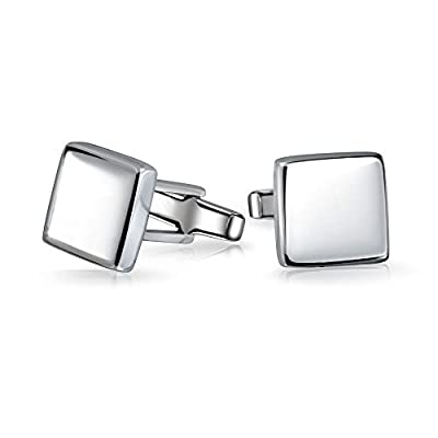 Solid Square Cuff Links For Men Engravable Shirt Cufflinks Polished Sterling Silver Graduation Gift Hinge Personalize