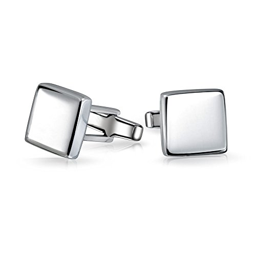 Solid Square Cuff Links For Men Engravable Shirt Cufflinks Polished 925 Sterling Silver Graduation Gift Hinge