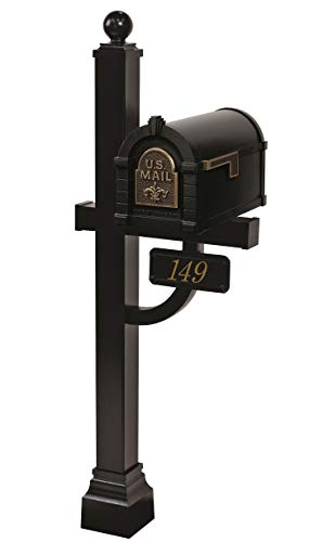 Gaines - Fleur De Lis Keystone Series Custom Mailbox Set (Black/Antique Bronze)