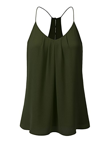 Button Cami (JJ Perfection Women's Chiffon Layered Front Pleated Blouse Cami Tank Top Olive S)