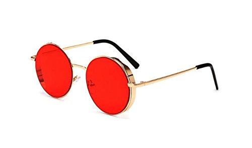 femmes hommes et Non Vintage protection soleil Or UV400 Retro Polarized Rouge pour Huateng Lunettes de de HF4wAOO