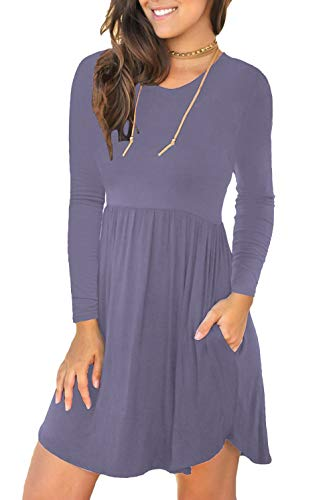 Unbranded* Women's Long Sleeve Loose Plain Dresses Casual Short Dress with Pockets Purple Gray X-Small