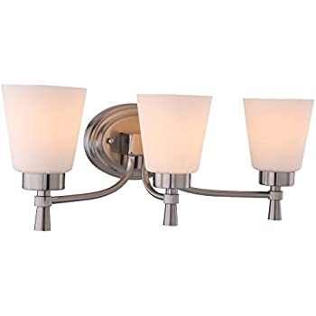 3 Light Bathroom Chrome Vanity Wall Sconce, Brushed Nickel Finished and White Frosted Seeded Opal Glass Shade, WISBEAM