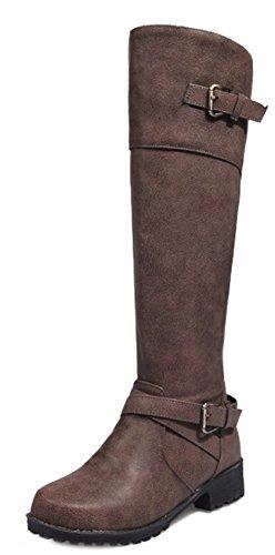 Knee High Zipper Top Toe Aisun Round Booties Cool Women's Khaki P4wqnIt