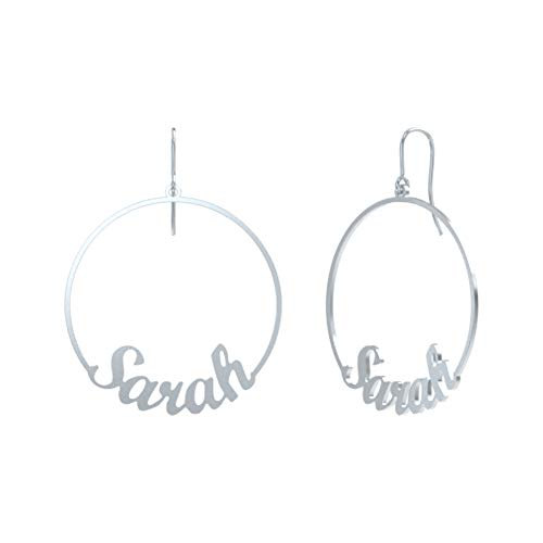 Personalized 925 Sterling Silver Copper Hoop Name Earrings 1.5