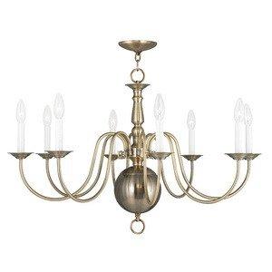 Livex Lighting 5007-01 Williamsburg 8-Light Chandelier, Antique Brass