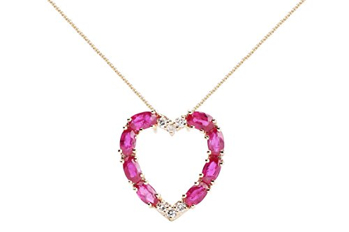 Albert Hern Ruby Necklace with Diamonds & 18K Gold Chain | Irresistible Ruby Heart Sign Pendant Jewelry | Perfect Valentine's Day, Anniversary & Birthday Gift