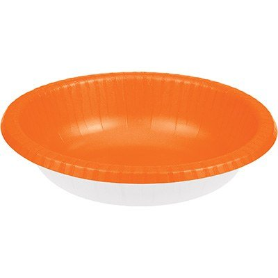 Club Pack of 200 Sunkissed Orange and White Disposable Paper Party Banquet Dinner Bowls 20 oz