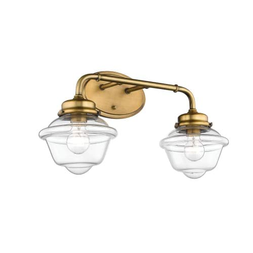 Millennium Lighting Neo-Industrial Heirloom Bronze TwNeo-Light Vanity with Clear Schoolhouse Glass