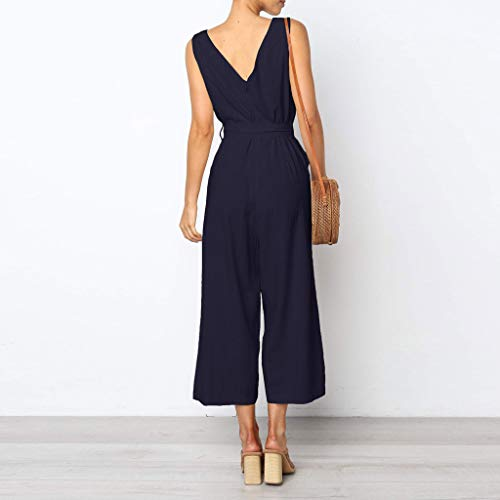 Pervobs Women Sleeveless V-Neck Backless Solid Button High Waisted Wide Leg Jumpsuit Casual Loose Beach Playsuits(XL, Navy) by Pervobs Women Pants (Image #3)