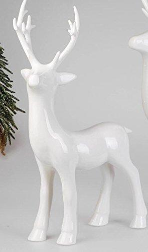 Deko-Figur Hirsch weiss aus weiss-glasiertem Steingut gefertigt, zeitlose Weihnachtsdeko