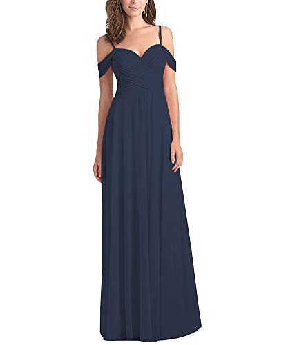 Women's Off The Shoulder Pleated Plus Size Country Bridesmaid Dress Long Chiffon Wedding Guest Dress Sleeveless Navy Blue Size 18W