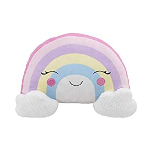 Little Love by NoJo Rainbow Shaped Plush Sherpa Decorative Pillow with Clouds, Pink/Lilac/Yellow/White/Pink/Lavender