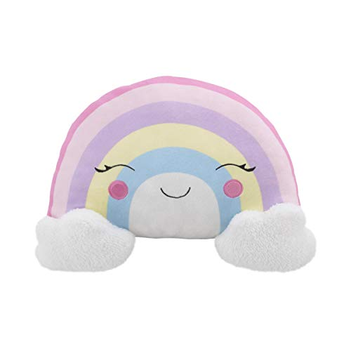 Little Love by NoJo Rainbow Shaped Plush Sherpa Decorative Pillow with Clouds, Pink/Lilac/Yellow/White/Pink/Lavender -