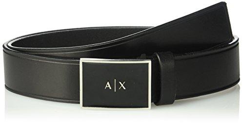Armani Exchange Men's Classic Leather Plaque Belt