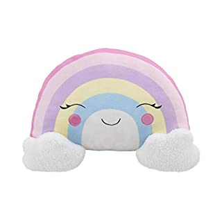 Little Love by NoJo – Pastel Colored Rainbow Shaped Plush Sherpa Decorative Pillow With Embroidery, Decorative Nursery Pillow, Playroom Décor, Cute Throw Pillows, Pink/Lilac/Yellow/White/Pink/Lavender