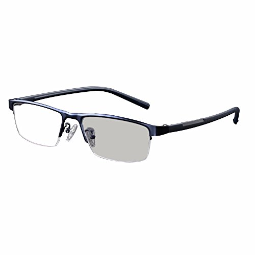 Transition Photochromic Reading Glasses Pocket Reader Metal Frame with Case Farsighted UV400 Sunglasses +1.0 to +4.0 (+1.25, Navy)