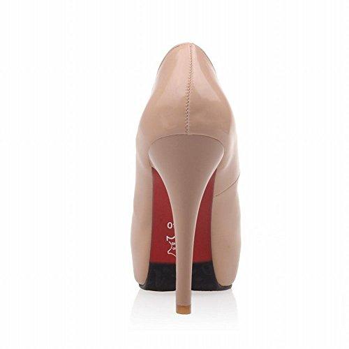 Latasa Femmes Mode Faux Verni-plateforme En Cuir Stiletto Haut Talon Robe Pompes Chaussures Lumière Abricot