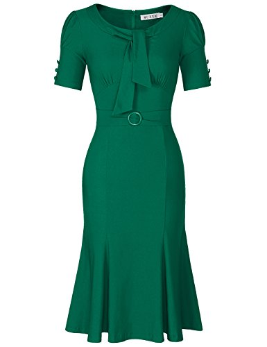 MUXXN Lady Pinup 1960s Style Empire Waist Long Semi Formal Pencil Dress (Green XL)