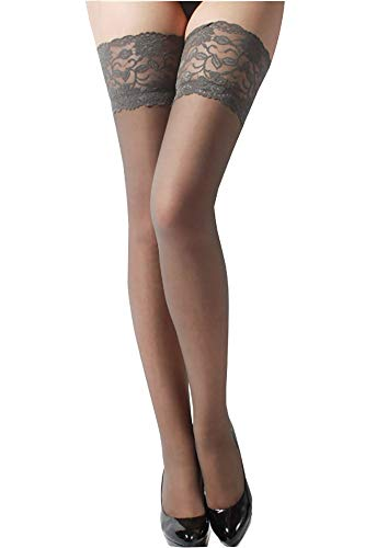 ONEFIT Socks, Sexy Womens Lace Top Silicone Band Thigh High Stockings Pantyhose, One Size, Grey (Grey Stockings)
