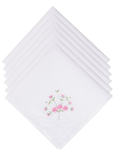 Embroidered Wedding Handkerchief (Selected Hanky Ladies/Women's Cotton Handkerchief Flower Embroidered with Lace 6 Pack - Pink Floral)