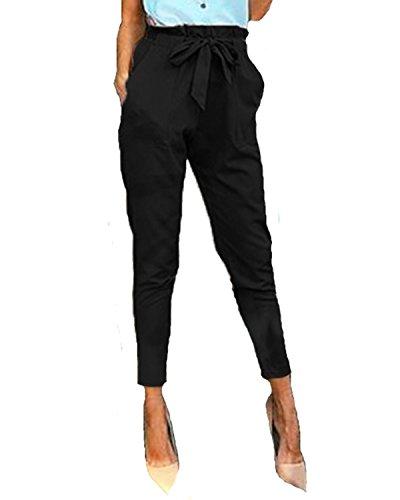 StyleDome Mujer Pantalones Pitillo Oficina Deportivos Cordón Lazo Moda Elegantes Bolsillos Negro