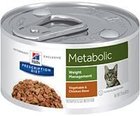 Hill s Pet Nutrition Metabolic Weight Management Vegetable Chicken Stew Canned Cat Food, 2.9oz, 24 Pack Wet Food