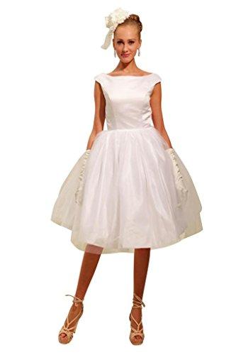 Einfache Honig BRIDE Hochzeitskleid Abendkleid GEORGE Hochzeitskleider Halsausschnitt Brautkleider Elfenbein Kurze mit rundem RnF5dqdxU