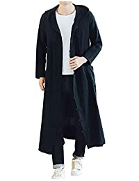 LifeHe Men Long Casual Hooded Trench Coat Loose Hoody Cardigan Jacket Overcoat