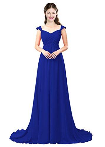 Royal Women's Dresses Color A line e Blue Chiffon Prom Bridesmaid Long Beading 2016 Dress 17wHHUqxTC