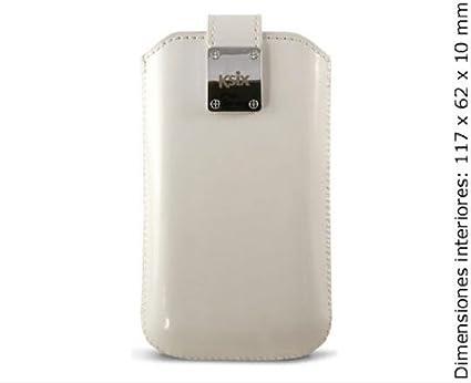 Ksix Monaco - Funda universal para móvil, talla L (con cinta lengüeta y cierre magnético), blanco
