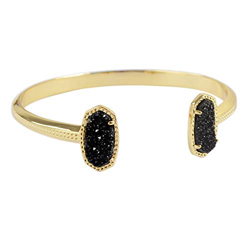 ZENGORI 1 Pcs Gold Plated Hexagon Natural Titanium Black Agate Drusy Bangle for Unisex ZBG0143