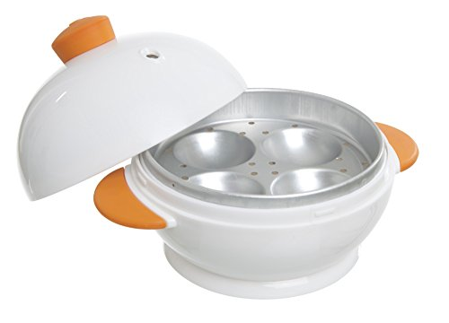 MSC International White and Orange 4 Boiler Joie Big Boiley Microwave Egg Cooker, Handles