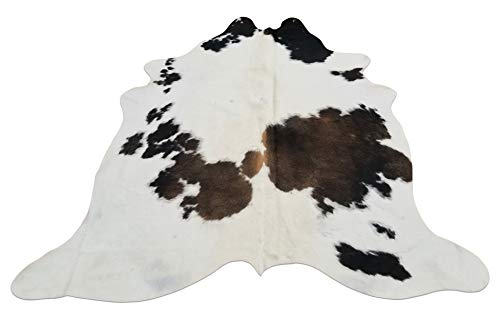 - Tricolor Cowhide Rug– Premium Quality Brazilian Tri Color Cow Hide Rugs – Elegant Unique Design – 62 x 55 Inches – Ideal for Upholstery, Bar Stools, Head Boards 1587