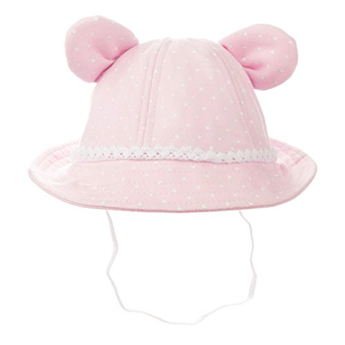 Baby Girls Toddler Bear Bucket Hat Sun Protection (3-6 Months, Pink)