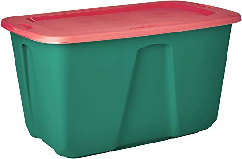 Homz Holiday Plastic Storage Tote Box, 32 Gallon, Green With Red Lid, Stackable, -