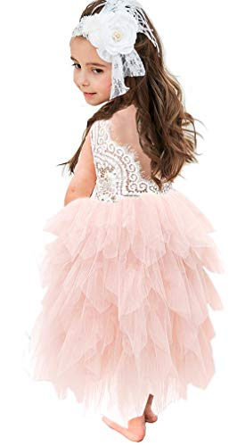 Topmaker Backless A-line Lace Back Flower Girl Dress (9-10Y, Long-Pink)