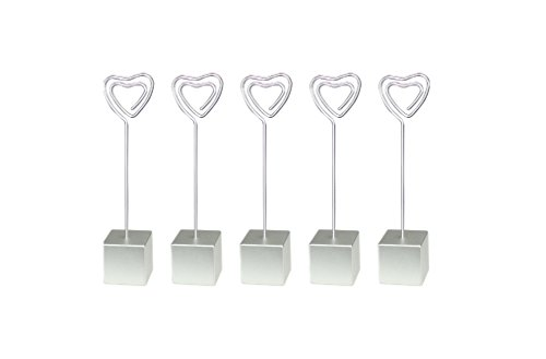 10 Pieces Silver Cube Base Heart Wire Standing Memo&photo&card&desk/picture Clip Holders,wholesale Wedding Place Lot,party ()