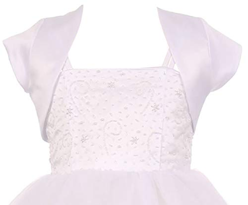 Big Girls' Satin Short Flower Girl Bolero Jacket Cover Up Shrug Cardigan USA White 12 (K35D5)