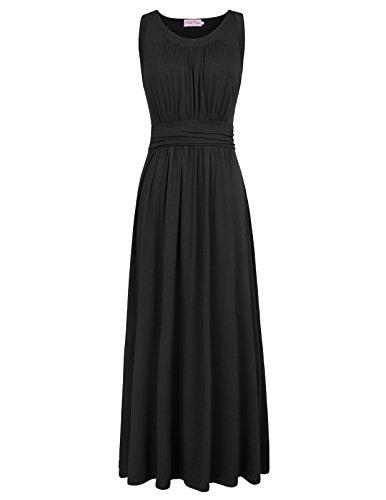Casual Women Vintage Maxi Dresses Sleeveless Size M Black BP0001-1