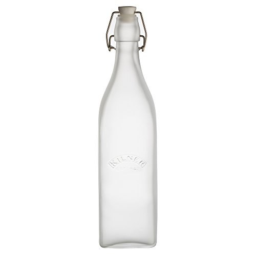 Glass Top Frosted (Kilner Frosted Glass Clip Top Bottle, Designed to Preserve Oils and Juices, Traditional Swing Top Locking System, Kilner Logo, Variety of Bottle Sizes and Colors, 34-Fluid Ounces, White)