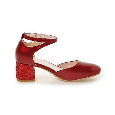 LvYuan Mujer-Tacón Robusto-Confort-Sandalias-Oficina y Trabajo Vestido Informal-Semicuero-Negro Rosa Rojo Beige Black