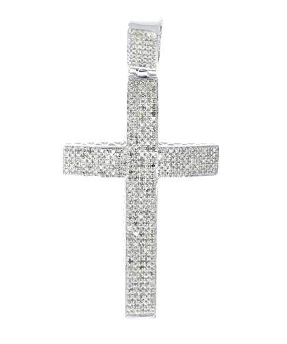 Midwest Jewellery Diamond Cross Pendant for Men 1.14 ctw Diamonds 2 Inch Tall Genuine Diamond Mens Cross in Silver ()