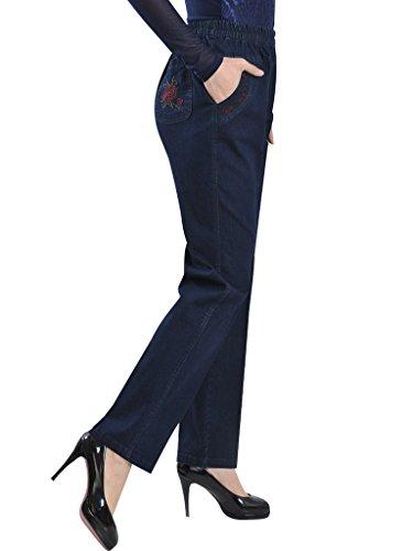 Bleu Bigassets Fonc Jeans Denim tendue Taille Femmes haute Y0wrY1q
